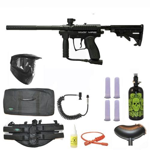 Spyder MR100 Pro Paintball Marker Gun 3Skull 4+1 Nitro Sniper Set Black by