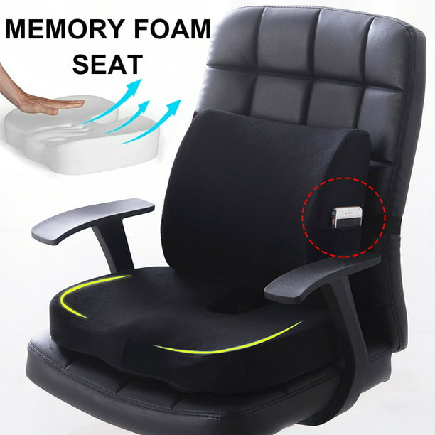 Premium Memory Foam Seat Cushion Lumbar Back Support Orthoped Home Car Office Chair Seat Pad Mat Pain Stress Relief Walmart Com Walmart Com