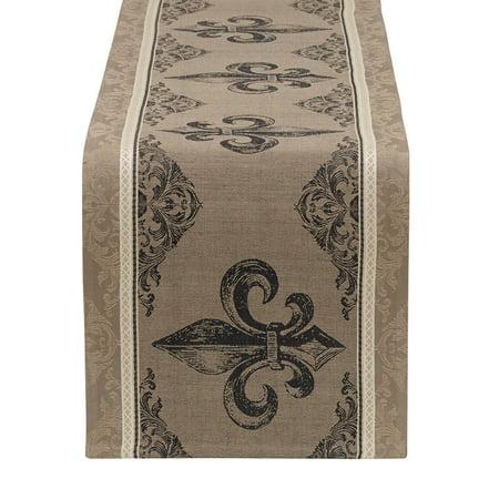 Design Imports Fleur De Lis Stripe Jacquard Table Runner - 14 x 72