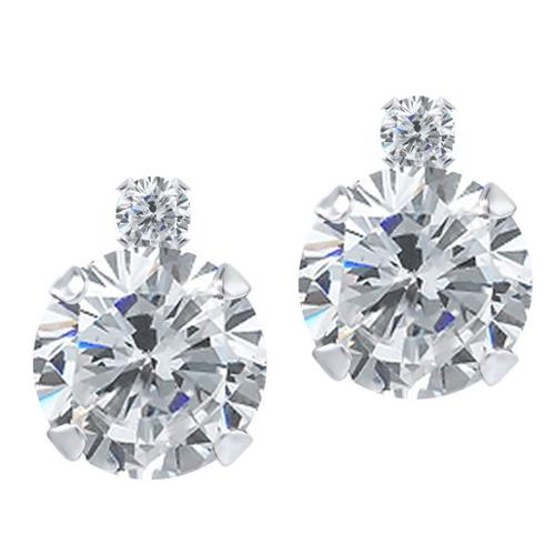 1.57 Ct Round I/J Diamond White Diamond 925 Sterling Silver Earrings