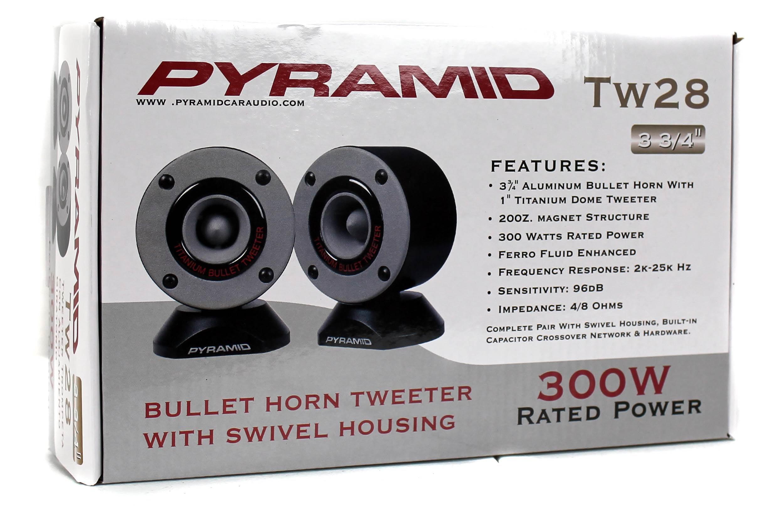 "2 New Pyramid TW28 3.75/"" 300W Super Car Audio Horn Bullet Aluminum Tweeters"