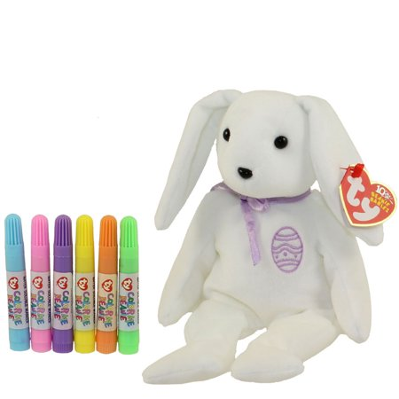TY Beanie Baby - COLOR ME BUNNY w/ markers (Purple Ribbon & Egg) (7.5 inch)