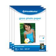 Printworks Gloss Photo Paper for Inkjet Printers, 8.5 mil, 90 Sheets (3-pack bundle), 8.5 x 11 (00543)