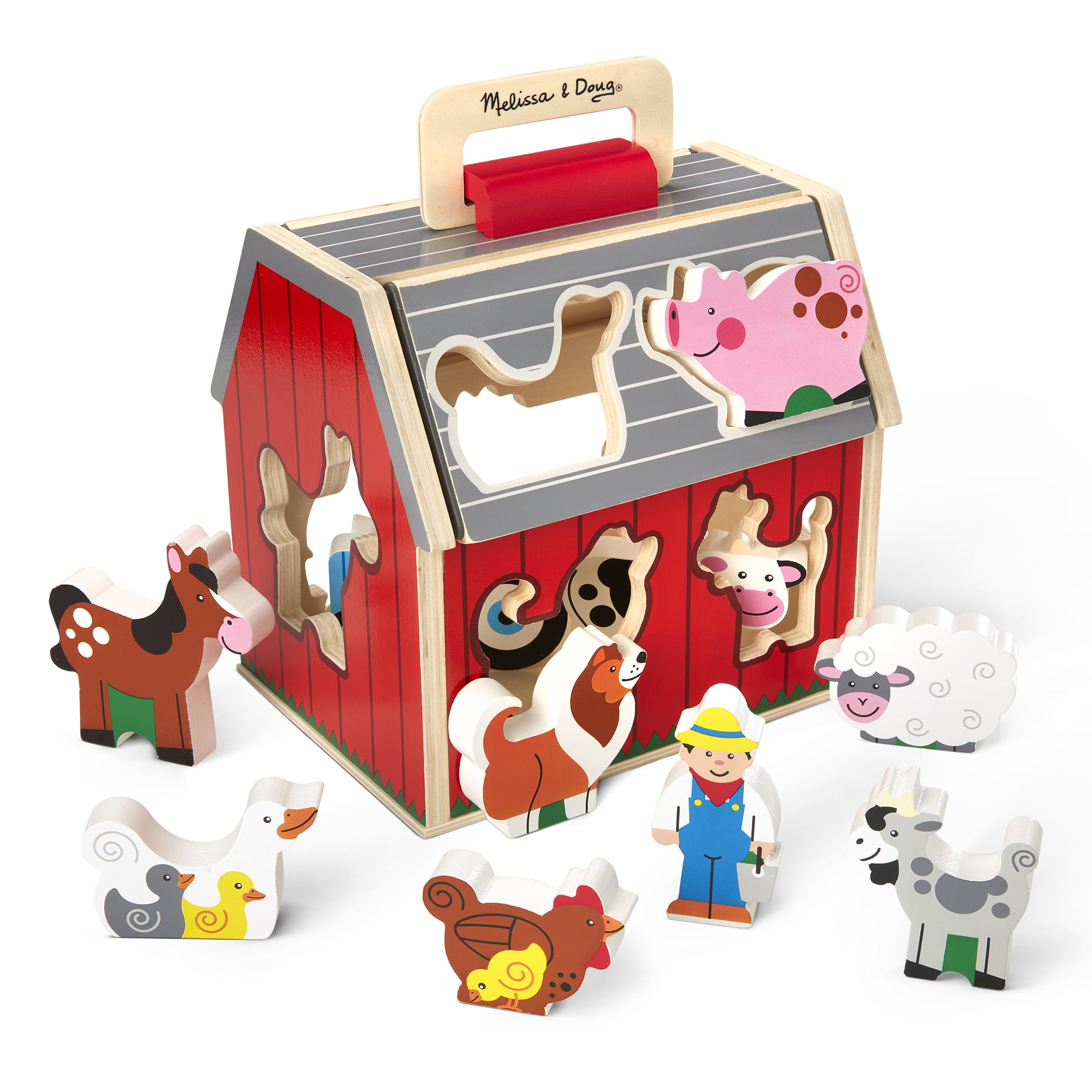 Melissa & Doug Wooden Take-Along Sorting Barn Toy with ...