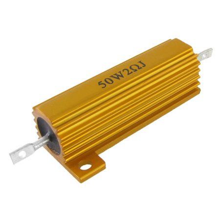 Unique Bargains Unique Bargains 50W 2 Ohm Chassis Mount Aluminum Power Resistor Gold