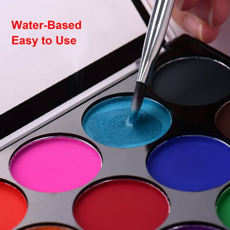 Professional Body Art Face Painting Kit Water Based Removable Body Paints 15 Colors Palette with 2 Paintbrushes and 4 Templates for Costume Makeup Themed Party Supplies - image 7 de 7