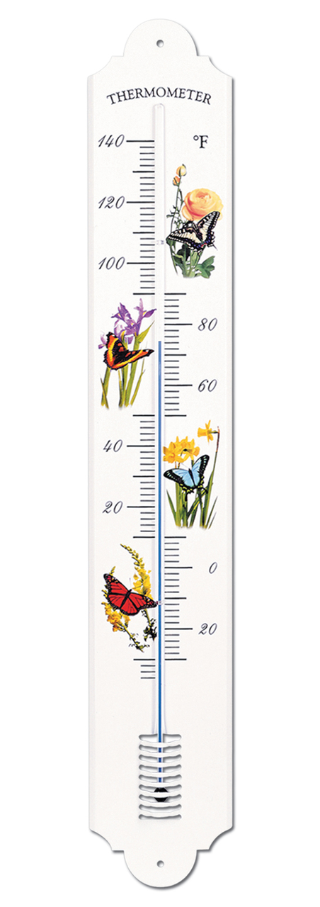 French Enamel Style Outdoor Thermometer Butterfly by