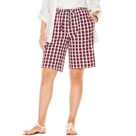 Cotton Seersucker Short - Plus Size Seersucker Short