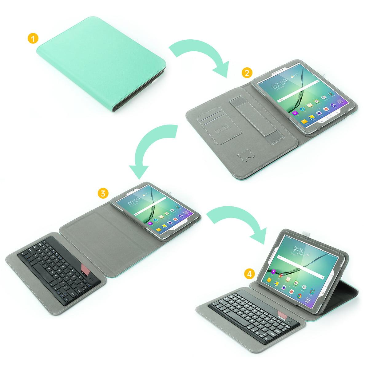pretty nice 97ef9 95b88 ULAK Galaxy Tab S2 Case, Tab S2 Keyboard, Portable Bluetooth Keyboard with  Built In Hand Strap & Media Stand for Samsung Galaxy Tab S2 (9.7 inch) 2015  ...