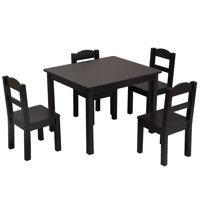 Clearance! Table and 4 Chair Set for Kids, Multipurpose Toddler Table and Chair Set, Wooden Child Art Table/Study/Picnic/Dining Table, Playroom Furniture for 3+ Years Old Boy/Girl, Espresso, W5546