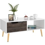 REDUX AIR Modern Furniture Coffee Tables ,Wooden Console Sofa Side Table, 2 Tier Shelf Storage Drawer Table ,White