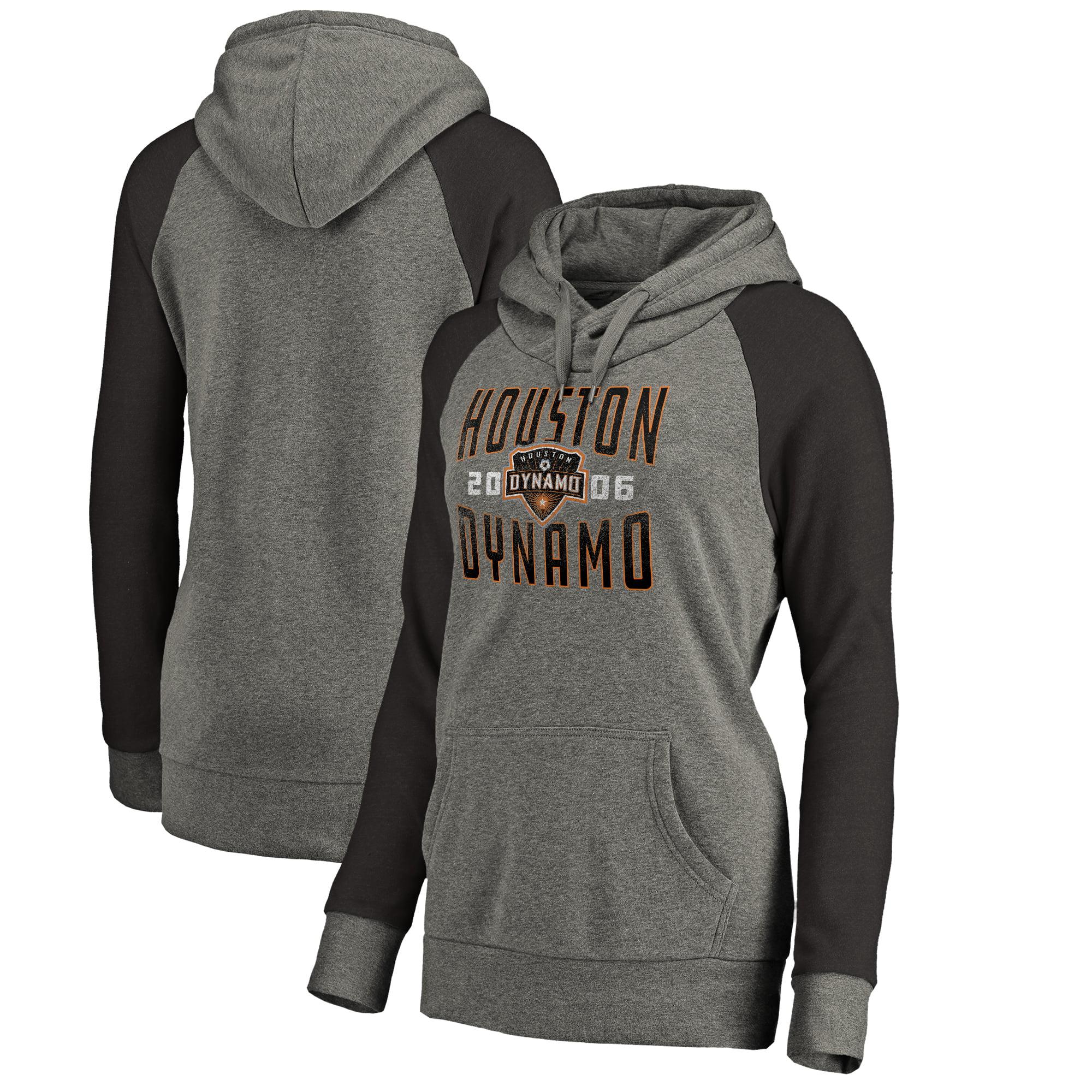 Houston Dynamo Fanatics Branded Women's Antique Stack Tri-Blend Raglan Pullover Hoodie - Heathered Gray