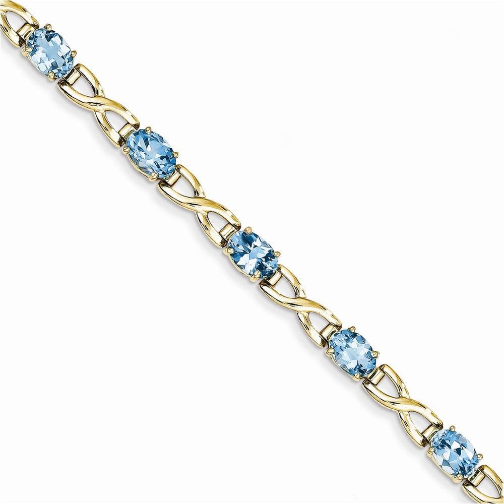 14k 7x5mm Oval Blue Topaz bracelet by