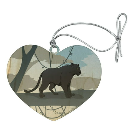 Black Panther Leopard Jaguar Forest Heart Love Wood Christmas Tree Holiday Ornament](Leopard Christmas Ornaments)