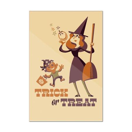 Creative Mother And Son Halloween Costumes (Trick or Treat - Mom & Son - Retro Halloween - Lantern Press Artwork (8x12 Acrylic Wall)