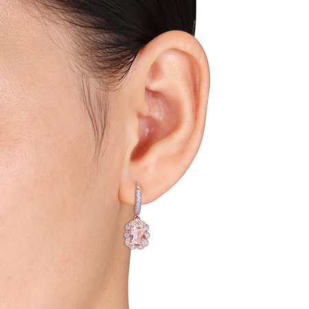 Miabella Simulated Morganite and Cubic Zirconia Rose-Plated Sterling Silver Earrings - image 3 of 4