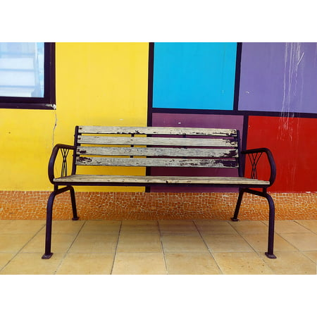 - Laminated Poster Outdoor Empty Bench Furniture Color Poster Print 11 x 17