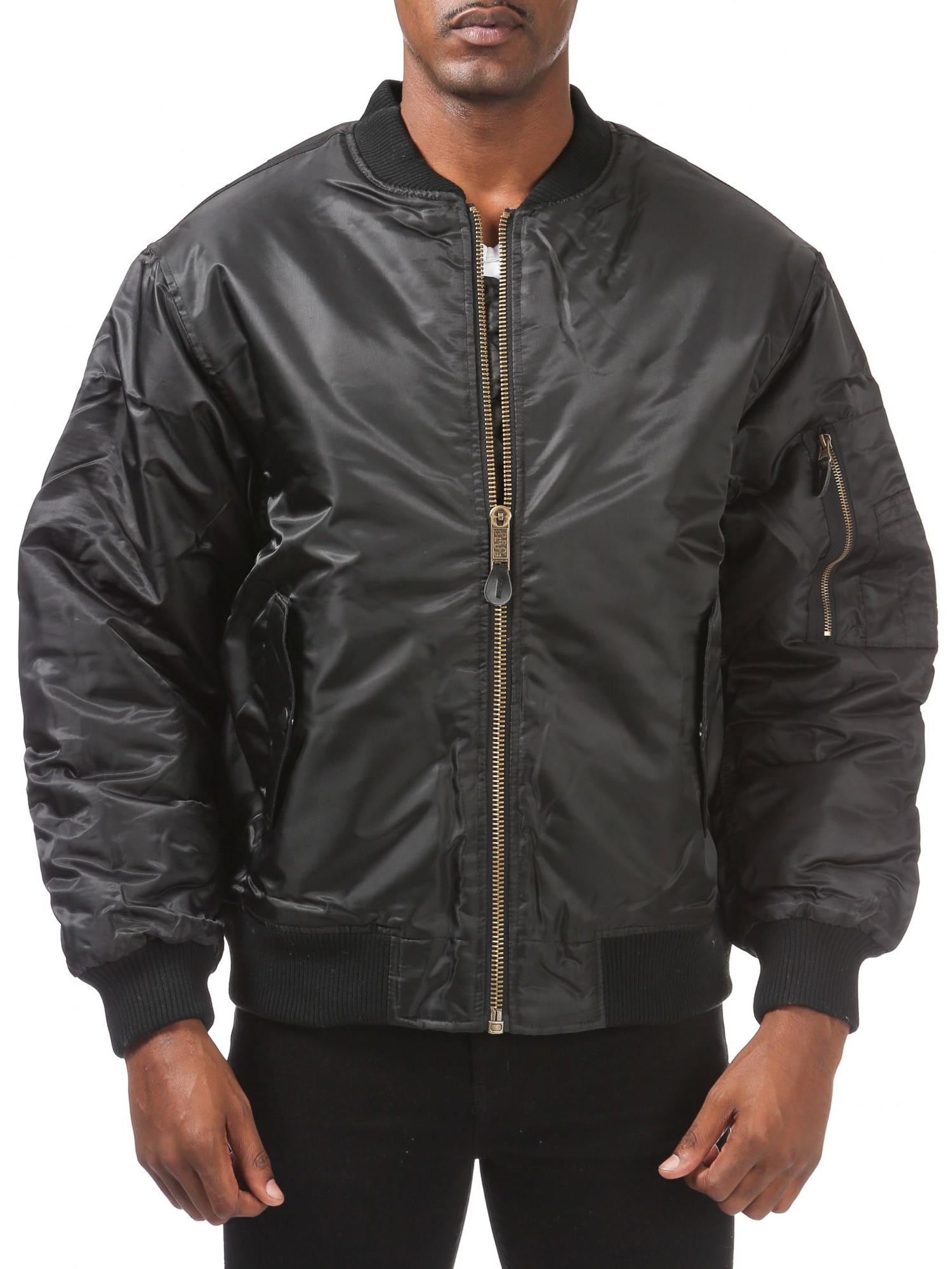 Pro Club Men's Flight Bomber Jacket, Small, Black