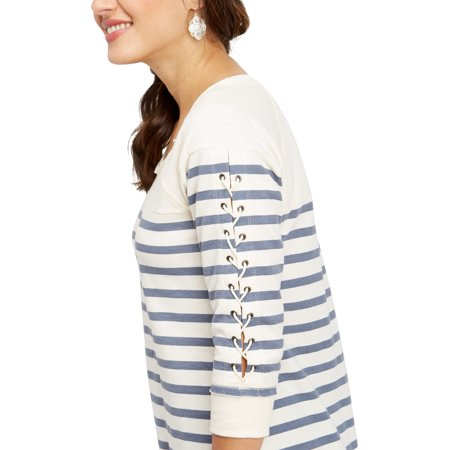 Maurices Women's Striped Pullover Sweatshirt - Lace Up Sleeves