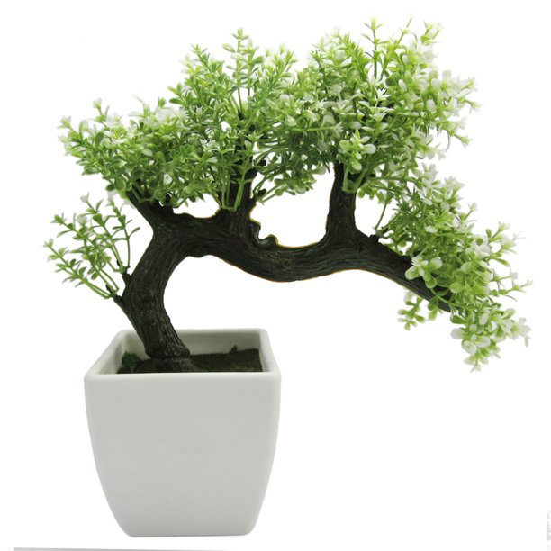 Mini Japanese Style Artificial Bonsai Tree With Plastic Pot White Walmart Com Walmart Com