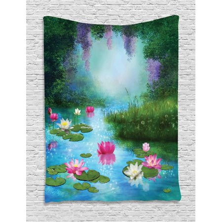 Nature Tapestry, Fantasy Pond with Water Lilies Floating Romantic Lotus Fairy Tale Digital Art, Wall Hanging for Bedroom Living Room Dorm Decor, Aqua Pink Green, by Ambesonne