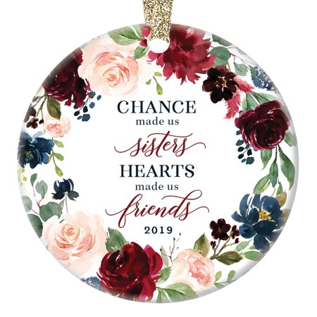 2019 Christmas Ornament Keepsake Present for Sister Family BFF Holiday Tree Decoration Best Friend Sibling Families Lovely Floral Ceramic 3