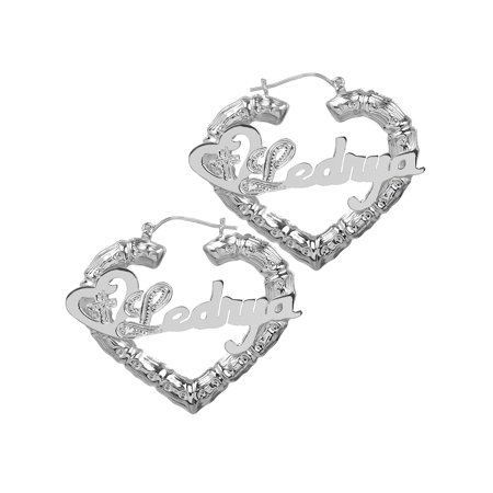 Sterling Silver, Gold Plated or 10k Personalized Religious Sandwich Hoop Earrings With Beading and Rhodium on First Initial and Cross