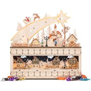 Best Choice Products Wooden Christmas Shooting Star Advent Calendar w/ Battery-Operated LED Light Background
