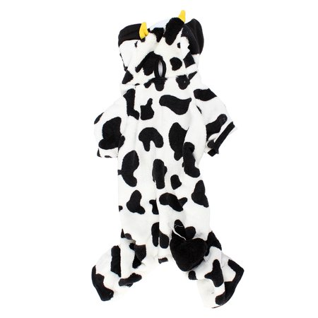 Unique Bargains Winter Warm Cow Printed Hoodie Sleeved Pet Dog Yorkie Coat Clothes Costume - Dog Halloween Cow Costume