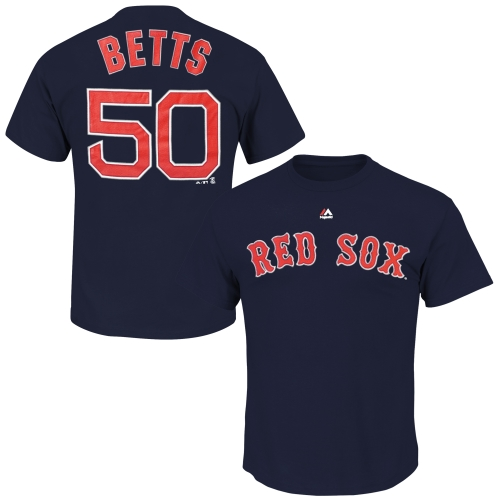 Mookie Betts Boston Red Sox Majestic Official Name and Number T-Shirt - Navy