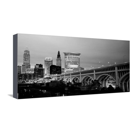 Bridge in a City Lit Up at Dusk, Detroit Avenue Bridge, Cleveland, Ohio, USA Black and White Photo Stretched Canvas Print Wall Art By Panoramic Images](Party City In Ohio)