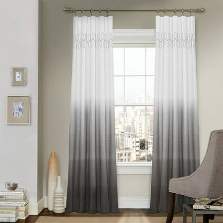 """95""""x52"""" Arashi Ombre Embroidery Light Filtering Curtain Panel Gray - Vue"""