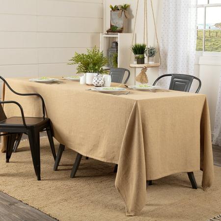 Natural Tan Farmhouse Thanksgiving Tabletop Kitchen Burlap Merlot Cotton Cotton Burlap Solid Color Rectangle 60x120 Table Cloth