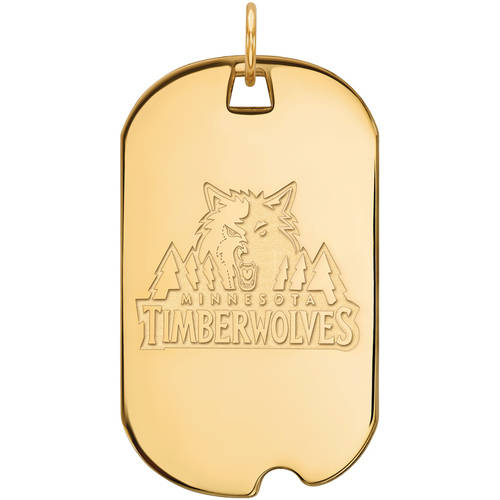 LogoArt NBA Minnesota Timberwolves 14kt Gold-Plated Sterling Silver Large Dog Tag