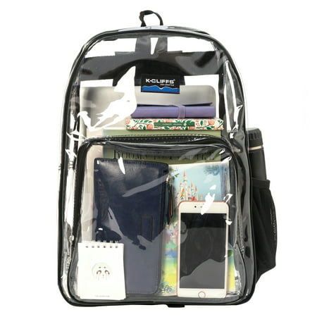 Wholesale Clear Backpack See through School bags Basic Transparent Student Bookbag, Black, 20pcs](Backpack Wholesale)