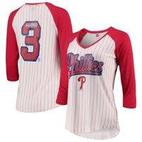 Bryce Harper Philadelphia Phillies 5th & Ocean by New Era Women's Player Pinstripe Raglan 3/4-Sleeve T-Shirt - White/Red