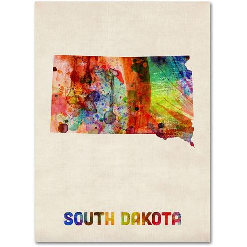 """Trademark Fine Art """"South Dakota Map"""" Canvas Wall Art by Michael Tompsett"""