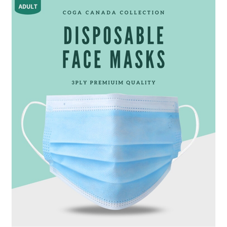 COGA Canada - 50 Masks (5 Packs of 10) 3ply Disposable Face Mask Non Medical Non Surgical - image 2 of 5