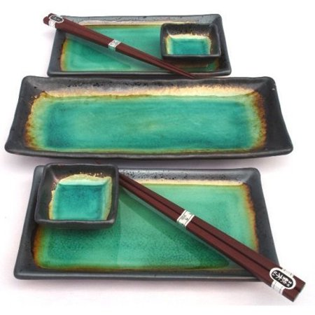 Japanese Turquoise Green Kosui Seven Piece Sushi Plate Set for Two with Serving (Japan Sushi)