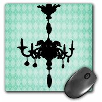 3dRose Black Chandelier Against A Turquoise Diamond Background, Mouse Pad, 8 by 8 inches