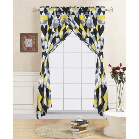 """4-PC TRILOGY Kids Bedroom Window Panel Pair, Set of Two Rod Pocket Curtains 38""""in Wide x 84""""in Length (Each) with Matching Tie Backs"""