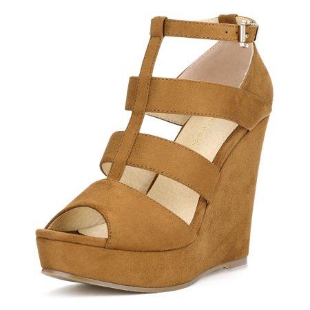 Unique Bargains Women's High Platform Peep Toe Cutout Wedge Sandals (Unique Wedge Sandals)