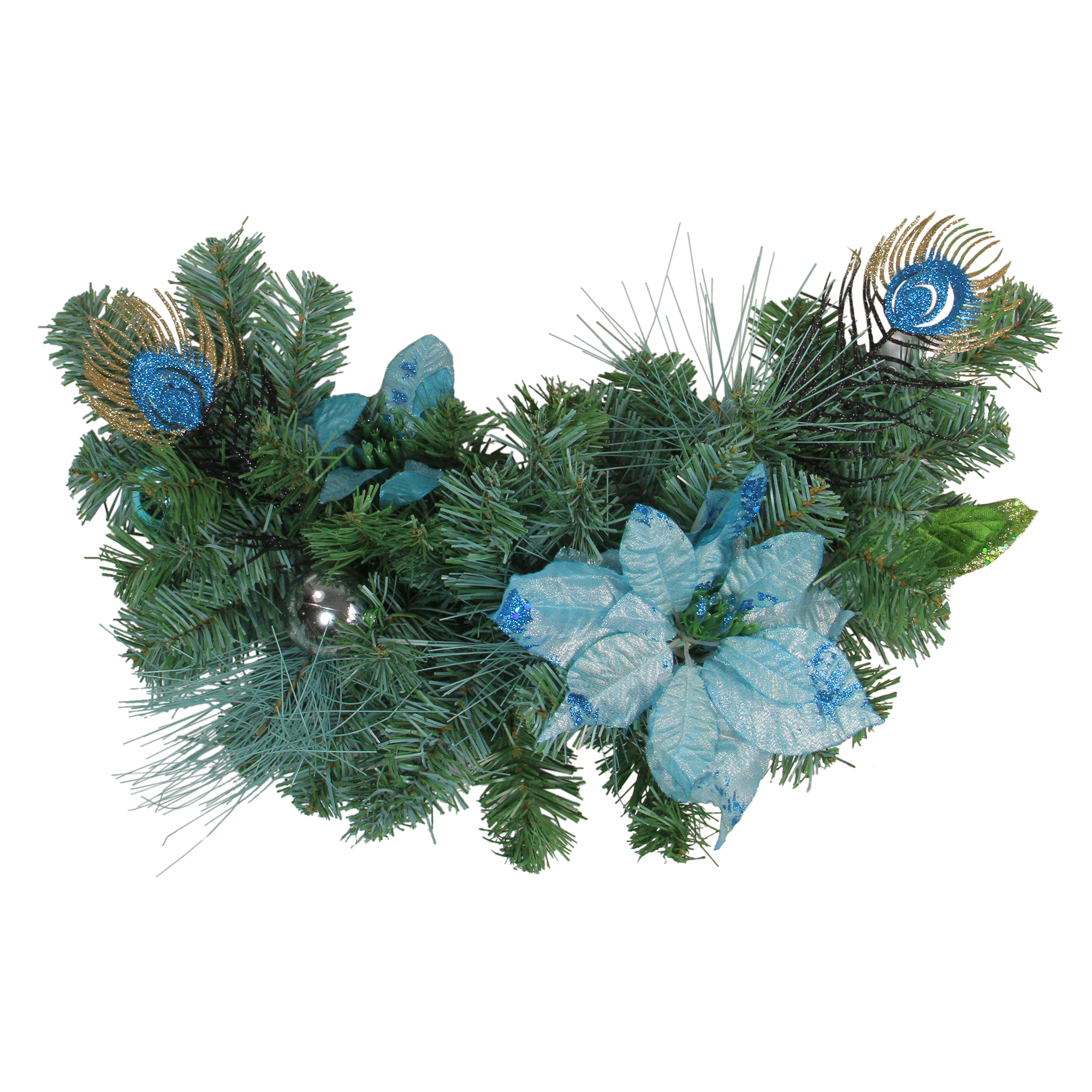 """Northlight 24"""" Unlit Blue/Silver Peacock and Poinsettia Artificial Christmas Swag"""