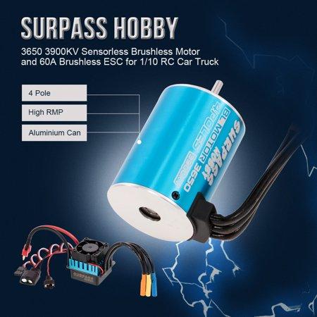 SURPASS HOBBY 3650 3900KV Sensorless Brushless Motor and 60A Brushless ESC for 1/10 RC Car Truck - image 7 of 7