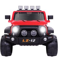 Ktaxon 12V Kids Ride-On Truck Car with Remote Control, 3 Speeds, LED Lights, AUX/ USB / TF Cards - Black