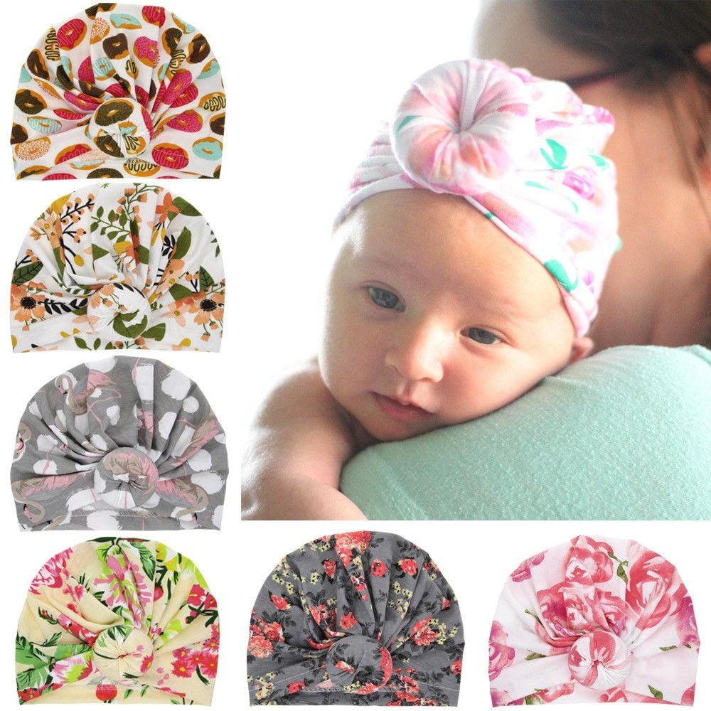 Flower Turban Hat Newborn Baby Kid Girls Boys Infant Stretch Beanie Cap Headwrap