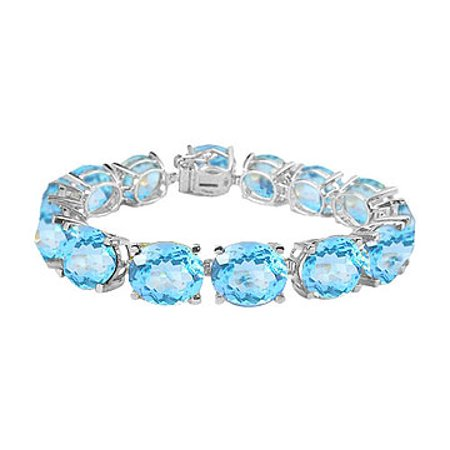 Aquamarine Jewelry - Oval Aquamarine Bracelet in Sterling Silver 50 CT TGW- March Birthstone Jewelry