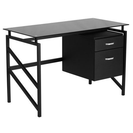 Flash Furniture Glass Desk with Two Drawer -