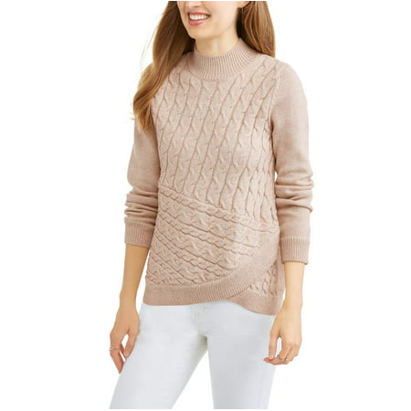 Neck Kit - Heart N Crush Women's Cable Knit Mock Neck Sweater