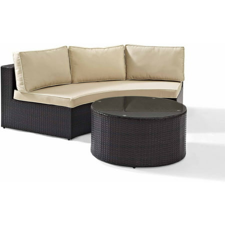 Fantastic Crosley Furniture Catalina 2 Piece Outdoor Wicker Seating Set With Sand Cushions Round Sectional Sofa With Round Glass Top Coffee Table Squirreltailoven Fun Painted Chair Ideas Images Squirreltailovenorg
